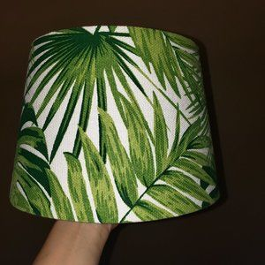 Palm Leaf Lampshade Tropical jungle green white M